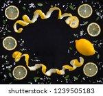 frame made of fresh lemons ... | Shutterstock . vector #1239505183