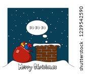 santa claus climbs into the...   Shutterstock . vector #1239542590