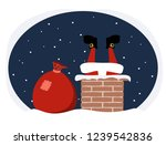 santa claus climbs into the...   Shutterstock . vector #1239542836