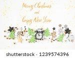 christmas  alarm clock  top... | Shutterstock . vector #1239574396