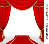 theater stage  with red curtain.... | Shutterstock .eps vector #123958570