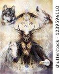 sacred ornamental deer spirit... | Shutterstock . vector #1239596110