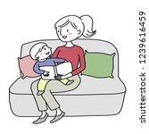 woman telling and reading a... | Shutterstock .eps vector #1239616459