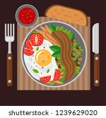 scrambled eggs with bacon ... | Shutterstock .eps vector #1239629020