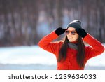 winter woman wearing sunglasses ... | Shutterstock . vector #1239634033