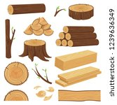 wood trunks. stacked lumber... | Shutterstock .eps vector #1239636349