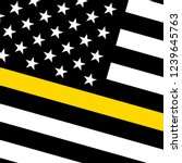 vector usa thin yellow line flag | Shutterstock .eps vector #1239645763