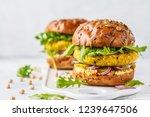 vegan chickpeas burgers with... | Shutterstock . vector #1239647506
