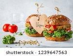 vegan lentil burgers with kale... | Shutterstock . vector #1239647563