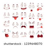 cartoon faces. happy excited... | Shutterstock . vector #1239648070