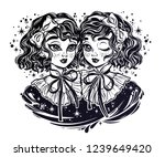 gothic victorian twin witch... | Shutterstock .eps vector #1239649420