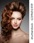 beauty fashion model with long... | Shutterstock . vector #1239651559