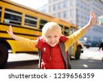 pupil with schoolbag with... | Shutterstock . vector #1239656359