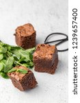 chocolate brownie with mint on...   Shutterstock . vector #1239657400