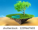 oasis with waterand tree in... | Shutterstock . vector #1239667603