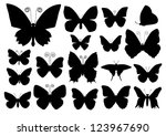 butterfly silhouettes | Shutterstock .eps vector #123967690