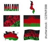malawi flag and map in... | Shutterstock . vector #123969388