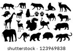 wild animals silhouettes | Shutterstock .eps vector #123969838