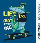 skateboarder crocodile vector... | Shutterstock .eps vector #1239702019