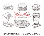 fastfood dishes with drinks .... | Shutterstock .eps vector #1239705973
