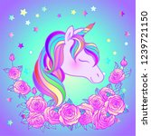 colorful unicorn and roses... | Shutterstock .eps vector #1239721150