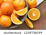 a lot of navel orange full and... | Shutterstock . vector #1239738199