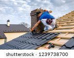 a professional master  roofer ... | Shutterstock . vector #1239738700
