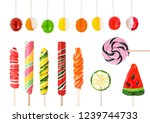 set of different sweet candies... | Shutterstock . vector #1239744733