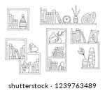Shelves Set Graphic Black White ...