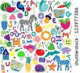 pattern alphabet zoo | Shutterstock .eps vector #123977386