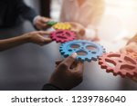 business team connect pieces of ... | Shutterstock . vector #1239786040