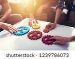 business team connect pieces of ... | Shutterstock . vector #1239786073