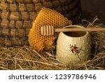 vintage old beehive basket... | Shutterstock . vector #1239786946