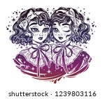 gothic victorian twin witch... | Shutterstock .eps vector #1239803116