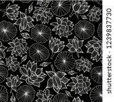 White On Black Waterlilies Or...