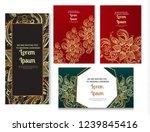 gold indian doodles. golden... | Shutterstock .eps vector #1239845416