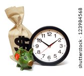 A few items related to the concept that time is money. - stock photo