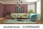 interior of the living room. 3d ... | Shutterstock . vector #1239856600