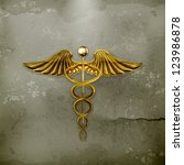 golden caduceus  old style... | Shutterstock .eps vector #123986878