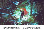 the man holding red smoke flare ... | Shutterstock . vector #1239919306