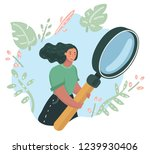 young woman is holding big... | Shutterstock .eps vector #1239930406