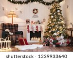 empty cozy christmas room with... | Shutterstock . vector #1239933640