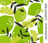 fresh limes  leaves background. ... | Shutterstock .eps vector #1239937300