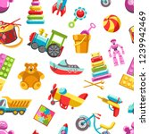 kid toys vector icons seamless... | Shutterstock .eps vector #1239942469