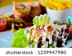 vegetable salad looks appetizing | Shutterstock . vector #1239947980