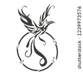 phoenix bird tattoo vector... | Shutterstock .eps vector #1239973576