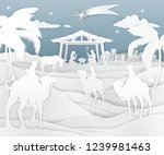 a nativity christmas scene in a ... | Shutterstock . vector #1239981463