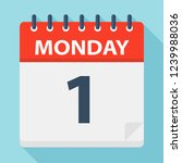 monday 1   calendar icon.... | Shutterstock .eps vector #1239988036