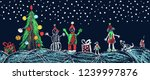 christmas night plaza with... | Shutterstock .eps vector #1239997876