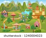 amusement park concept... | Shutterstock .eps vector #1240004023